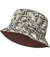 fendi reversible ff motif hat - grey