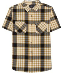 junk food men's kaine short sleeve plaid shirt
