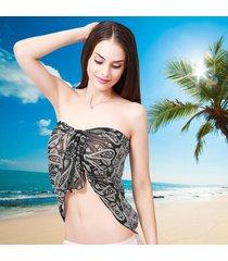coprispalle per bikini da spiaggia in tulle avvolgente da spiaggia per donna