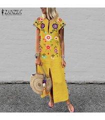 vestido largo con manga corta zanzea para mujer-amarillo
