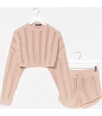 womens what's your pointelle knit shorts lounge set - oatmeal
