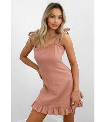 womens can't tie my love ruffle mini dress - rose