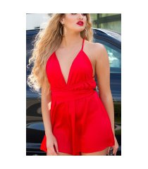 sexy jumpsuit open rug met riem rood