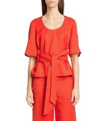 women's partow petunia tie waist linen blend top, size 4 - red