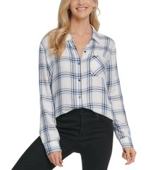 dkny jeans plaid one-pocket shirt