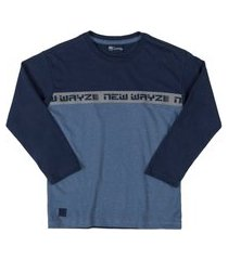 camiseta manga longa quimby azul