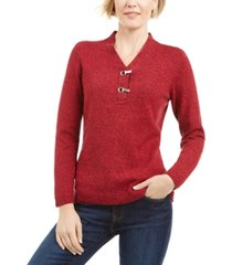 karen scott petite hardware-trim cotton henley sweater, created for macy's