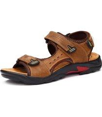 sandali da trekking da uomo in pelle di grandi dimensioni con gancio ad anello
