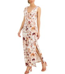 connected ruffled floral-print maxi dress
