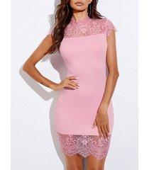 yoins rosa encaje patchwork cuello alto mangas casquillo vestido