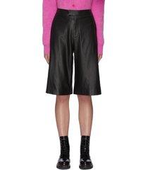 high waist flare leg leather capris pants