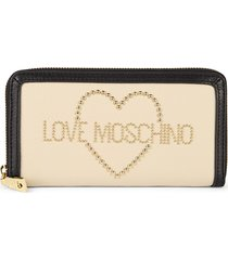 love moschino women's porta leather wallet - ivory black