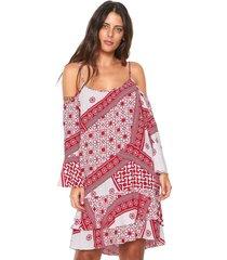 vestido ciganinha lez a lez curto tuareg vermelho/branco