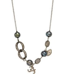 black rhodium-plated sterling silver, 10mm baroque pearl, diamond & ruby charm necklace