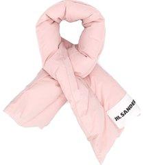 jil sander padded logo patch scarf - pink