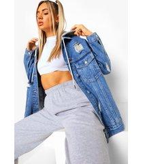 versleten loopback spijkerjas met capuchon, mid blue