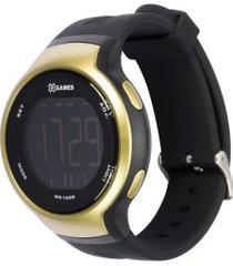 relógio digital x games xmppd554 - masculino - preto/ouro