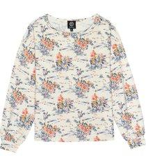 women's bobeau floral bishop sleeve pullover