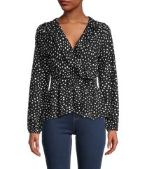 max studio women's dotted surplice blouse - black ivory - size xl