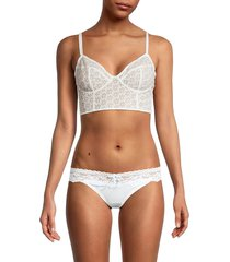 free people women's floral-embroidery lace long line bra - white - size m