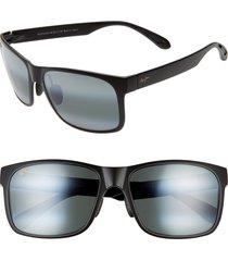maui jim red sands 59mm polarized sunglasses in matte black at nordstrom