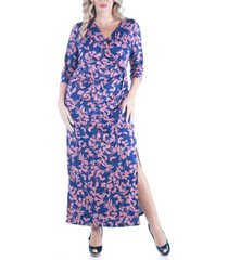 women's plus size floral print side slit maxi dress