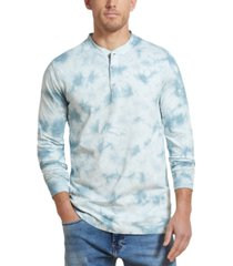 weatherproof vintage men's tie-dye long sleeve henley shirt