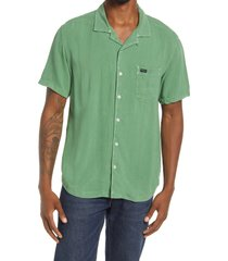 rvca beat short sleeve button-up shirt, size medium in kelly green at nordstrom