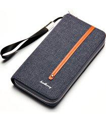 clutch con cerniera per canvas borsa portafoglio retrò multi-card per uomo