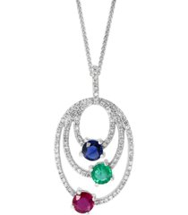 """lali jewels multi-gemstone (1-1/4 ct. t.w.) triple oval 18"""" pendant necklace in 14k white gold"""