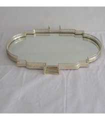 bandeja de aluminio niquelado c/ espelho bisote estilo de saláo