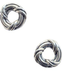 signature classic circel stud earrings in two tone sterling silver