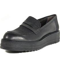 zapato mocasin clásico glitter negro mailea