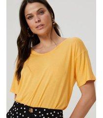 amaro feminino blusa básica u, amarelo