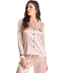 pijama longo em cetim abotoado luxo