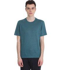 ermenegildo zegna t-shirt in petroleum cotton and linen