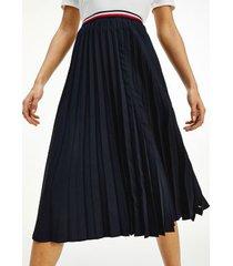 tommy hilfiger women's recycled pleated midi skirt desert sky - 10