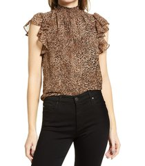 1.state flutter sleeve smocked neck blouse, size xx-small in leopard muses at nordstrom