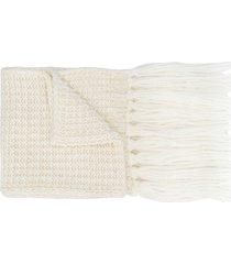 rossignol fringe knit scarf - white