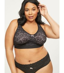 lane bryant women's cotton unlined no-wire bra with lace 46b black