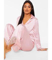 premium satijnen pyjama set met kwastjes, rose gold