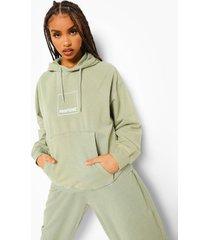 acid wash gebleekte pantone hoodie met voor- en achteropdruk, gewassen limoen