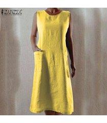 zanzea de las mujeres sin mangas del hombro larga camisa de vestir de verano del vestido del tanque vestido de tirantes plus -amarillo
