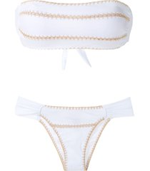 brigitte crochet bandeau set bikini - white