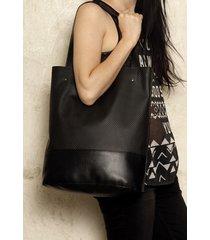 shopper xl torba czarna perforowana na zamek