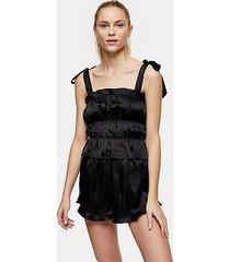 black satin ruched cami pajama set - black