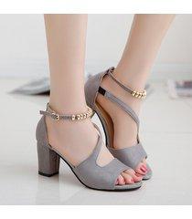 sandalias de tacón alto cuadradas para mujer correa de hebilla de verano