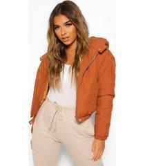 petite hooded crop padded coat, rust