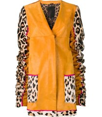 liska animal printed sleeves coat - yellow