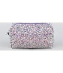nécessaire feminina quadrada em glitter lilás